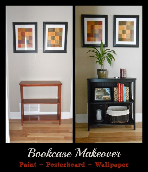 bookshelf before after collage
